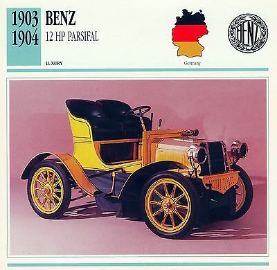 1903-1904 BENZ 12 HP PARSIFAL collector card.