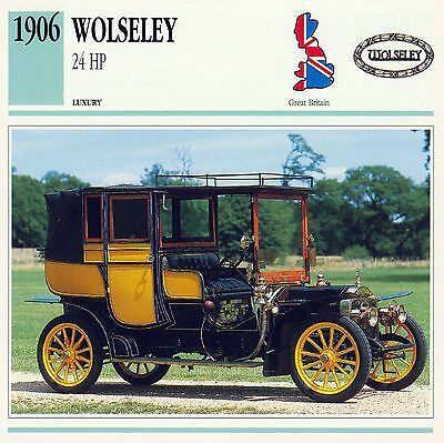 1906 WOLSELEY 24 HP collector card.