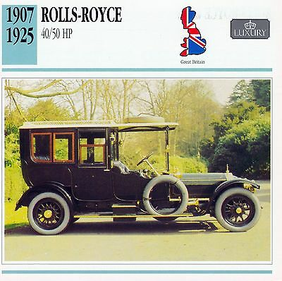 1907-1925 ROLLS-ROYCE 40/50 HP collector card.
