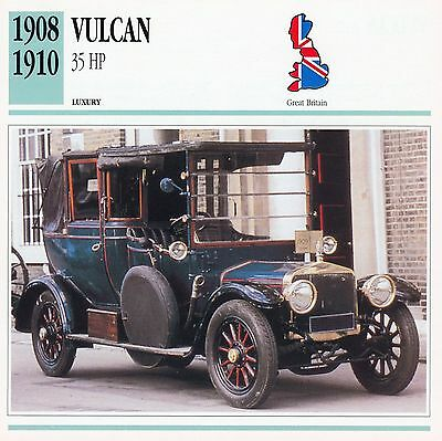 1908-1910 VULCAN 35 HP collector card.