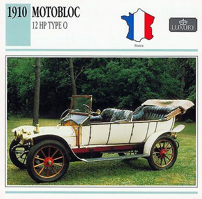 1910 MOTOBLOC 12 HP TYPE O collector card.