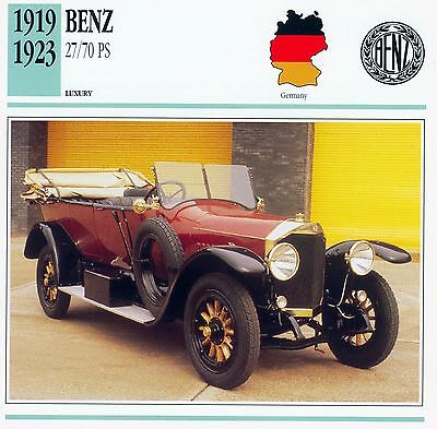 1919-1923 BENZ 27/70 PS collector card.