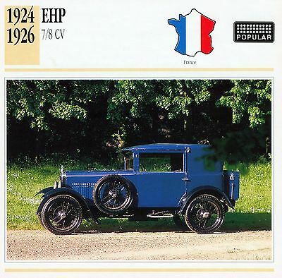 1924-1926 EHP 7/8 CV collector card.