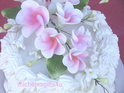 Gum Paste White & Pink Frangipani Hawaiian Sugar Cake Flowers
