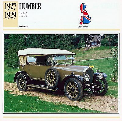 1927-1929 HUMBER 14/40 collector card.