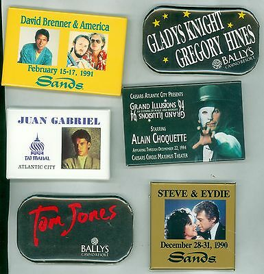 6 Vintage 80s-90s Casino Headliners Advertising Pinback Buttons - Gladys Knight