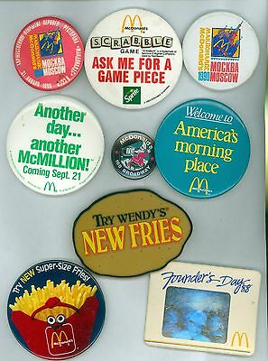 9 Vintage 80s-90s McDonalds Russia US Advertising Pinback Buttons Mockba Moscow