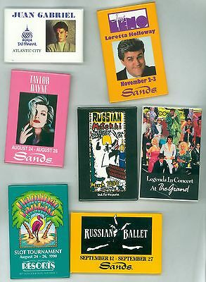 7 Vintage 1990s Casino Headliners Advertising Pinback Buttons Leno Taylor Trump