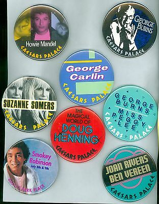 8 Vintage 80s-90s Casino Headliners Advertising Pinback Buttons George Carlin