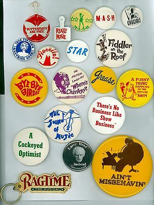 16 Vintage 70s-90s Broadway Musical Pinback Buttons 2 Tabs &1 Key Chain Ragtime