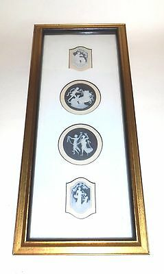 Beautiful Framed Set of 4 Limoges France Porcelain Cameo Medallions