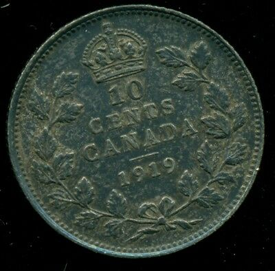 1919 Canada King George V, Sterling Silver Ten Cent, Sharp with Toning