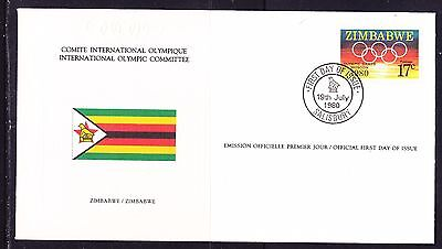 Zimbabwe  1980 - Olympic Committee EMBOSSED First Day Cover