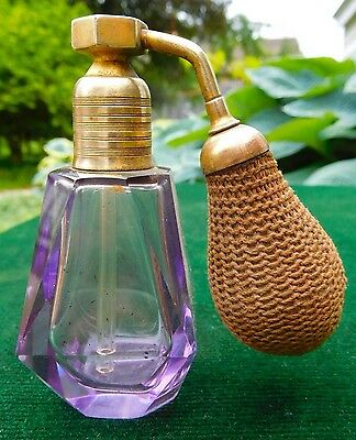 Vintage Volupte Perfume Bottle Atomizer Amethyst Violet Cut Glass - NICE!