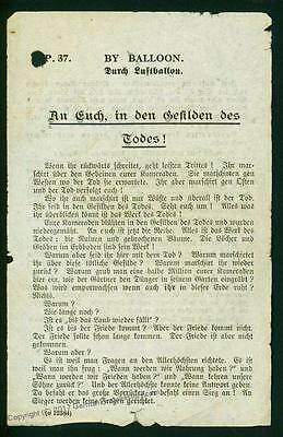 Germany England Rare WWI Anti-Allied Balloon Leaflet You in the Realm of D 74393