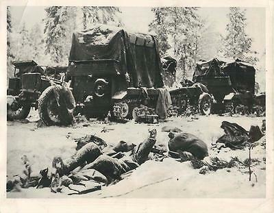 WWII Frozen Bodies of Russian 44th Div Soldiers on Suomussalmi Front Press Photo