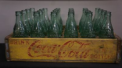 1963 Yellow Coke Coca Cola Wood Crate w/ Dividers & 24 Bottles - RARE CITIES
