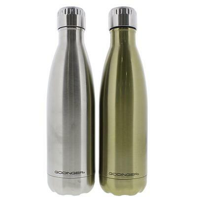 Godinger 8741 Silver Stainless Steel Hot/Cold Water Bottle Set of 2 17 oz. BHFO