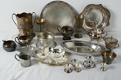 Vintage Assorted Mixed Sliverplate Serving Platters Bowls Candle Holders Lot