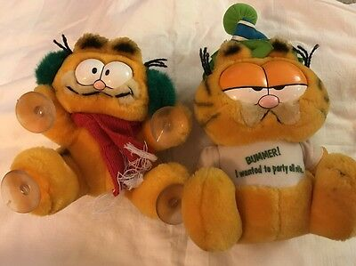 Vintage Garfield Plush Suction Cup Lot Of 2 Dakin