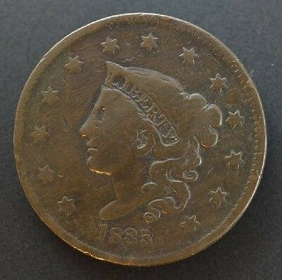 1835 Head of 1836 Coronet Head Large Cent in VG