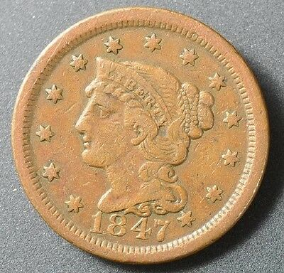 1847 Braided Hair Large Cent, No Reserve Price Auction!!