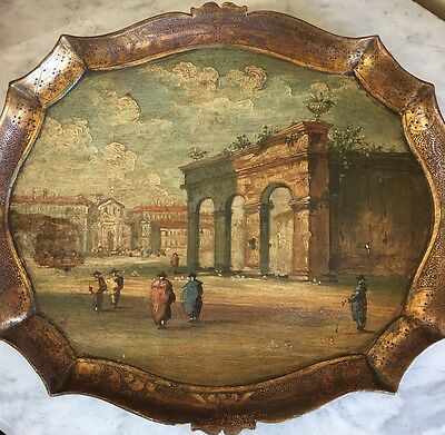 Fab Antique Florentine Tole gilded Wood Tray Hand Painted Venetian street Scene