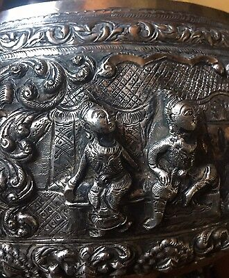 Burmese Silver Repousse High Relief Figural Foot Bowl 840grams Hallmarked