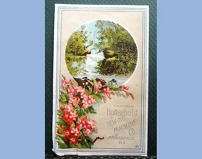 antique VICTORIAN TRADE CARD HOUSEHOLD SEWING MACHINE waterfall PROVIDENCE RI