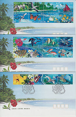 Cocos(Keeling) Islands 1999 Living Mosaic Set 3  First Day Covers