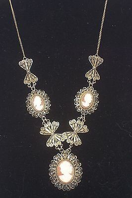 Vintage Gold Washed 800 Filigree Silver 3 Cameo Necklace Stunning