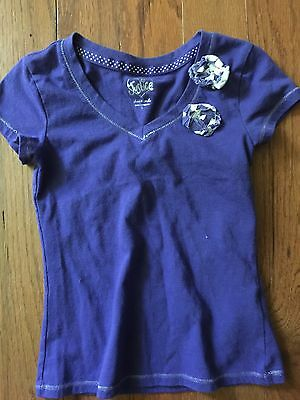 Justice Size 6 Purple Little Girls Short Sleeve Shirt