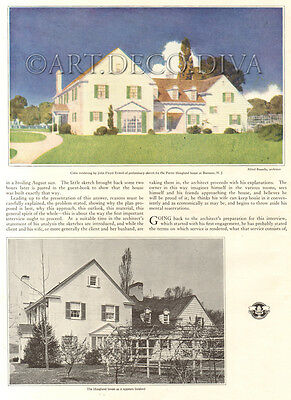 Antique 1922 Porter Hoagland Home RUMSON NJ New Jersey YEWELL Sketch Art Page