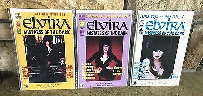 Lot Of 3 Claypool Elvira Mistress Of The Dark Comics #1 2 3