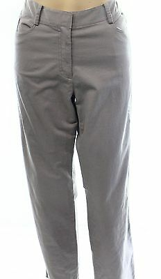 PURE DKNY NEW Gray Women's Size 14X29 Embroidered Straight-Leg Pants $235- #194