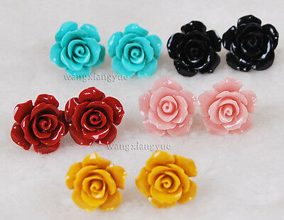 5pairs 5Colors 15mm Coral Hand Carved Flower Earrings Silver Stud AAA Grade
