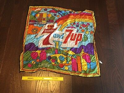 Vintage 1960/70's 7up Uncola psychedelic Acetate Scarf Cloth Americana Peter Max