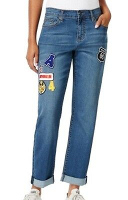 Earl NEW Blue Women's Size 10X27 Boyfriend Patched Seamed Stretch Jeans $54 #204