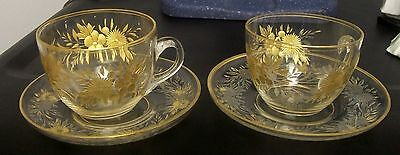 Pair Moser Gilt Etched  Demi-Tasse Cups Saucers Bohemian Art Glass Gilt Etched
