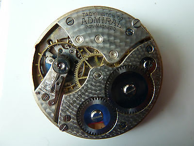 VINTAGE 12S ADMIRAL 15J 4Pos.Adjusted Open Face Pocket watch Movement!!