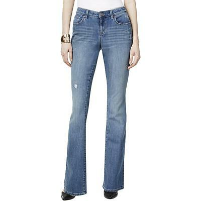 Style & Co. 0842 Womens Blue Denim Distressed Curvy Fit Flare Jeans 10 BHFO