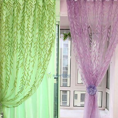 Willow Tulle Voile Door Window Curtain Drapes Panel Sheer Scarf Valances Curtain