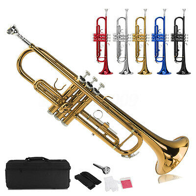 20inch Bb Beginner Student Trumpet Gold Plated+Care Kit+Case 20inch 5 Colors