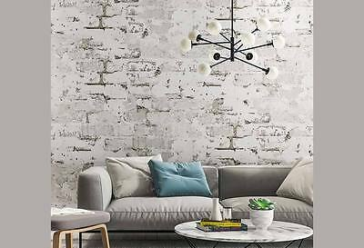 Havana Rustic 3D wash brick look grey wallpaper industrial shop fitting