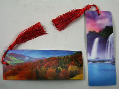 2 Bookmarks - 3D Lenticular -Landscapes - Waterfall & Autumn Trees w/ Red Tassle