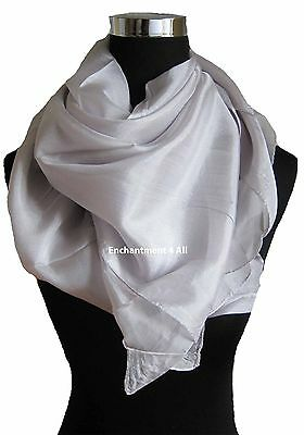 "New Extra Large Square 44""x44"" Luxurious 100% Pure Silk Scarf Shawl, Light Gray"