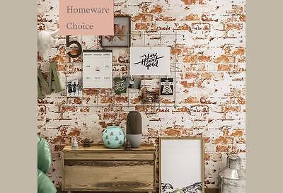 Havana Rustic 3D wash brick look scarlet wallpaper industrial shop fitting
