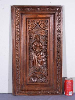 French Antique Breton Panel Wood Brittany Carved Chestnut Door w/ Woman (K)