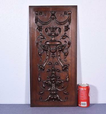 French Antique Gothic Revival Panel in Solid Walnut Wood with Griffins