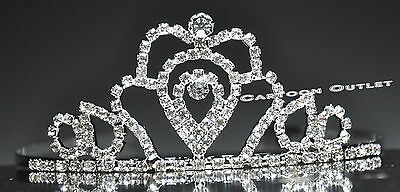 Princess Tiara With Comb Silver Girls First Communion Comunion Party Crown Metal